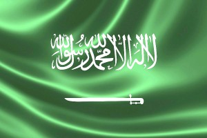 3D rendering of the flag of Saudi Arabia on satin texture.